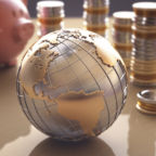 Planet Earth made ​​of gold and silver on a concept of the business world.